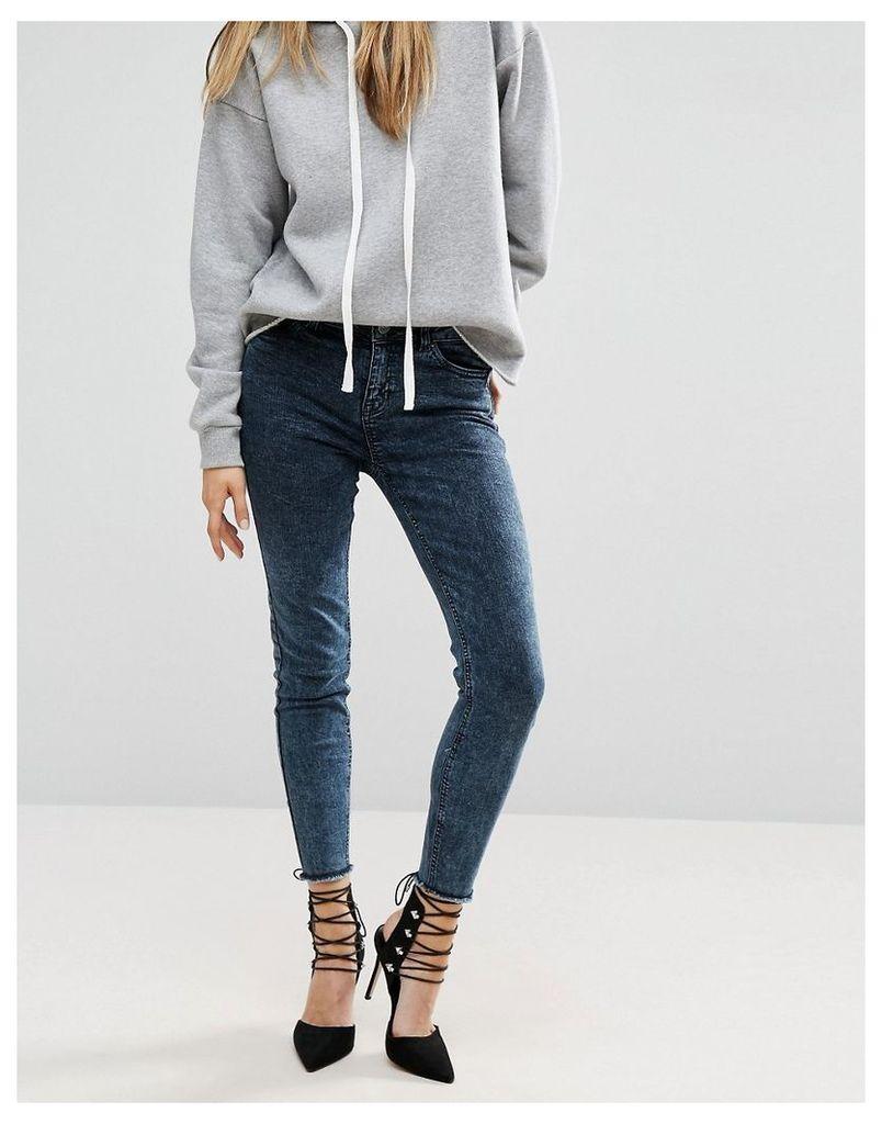 New Look Acid Wash Skinny Jean With Fray Hem - Blue/black