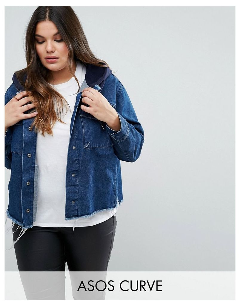 ASOS CURVE Denim Hooded Jacket With Raw Edges - Blue