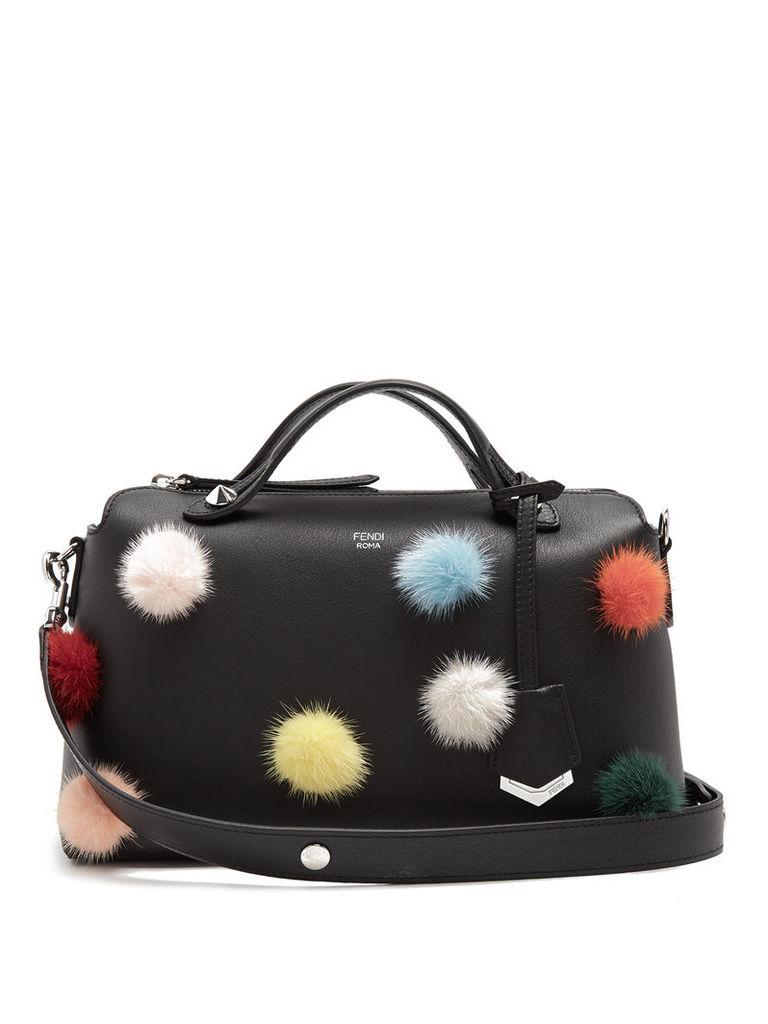 By The Way fur pompom-embellished leather bag