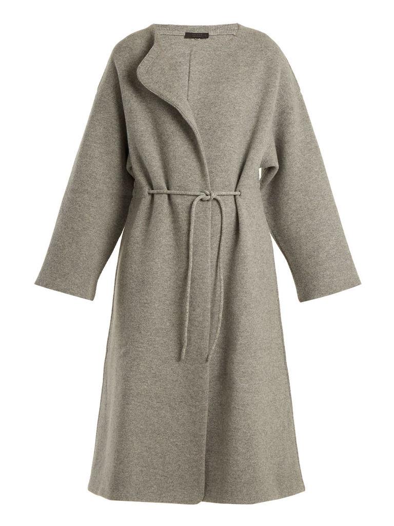 Mani collarless wool-blend coat
