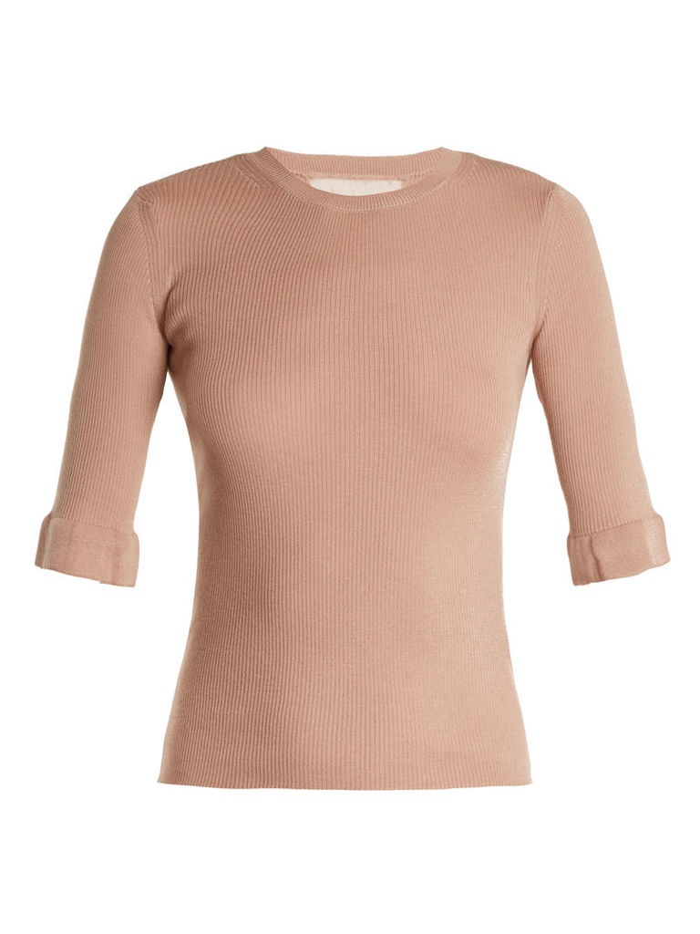 Lace-insert cashmere and silk-blend sweater