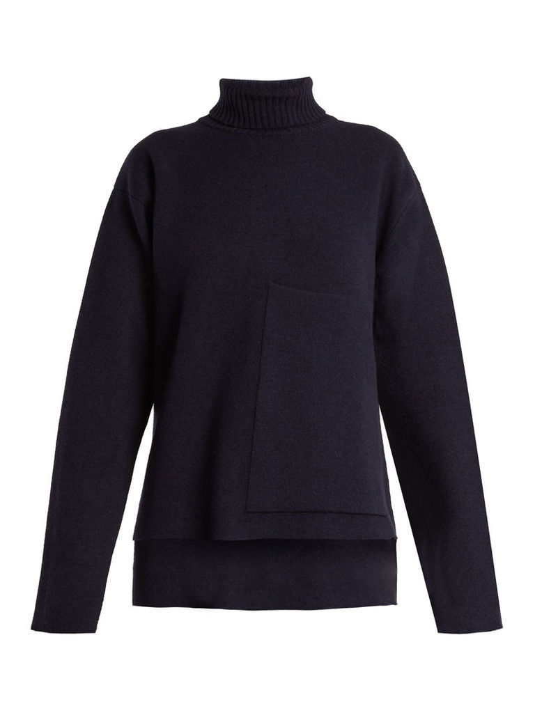 Double-faced wool-blend sweater