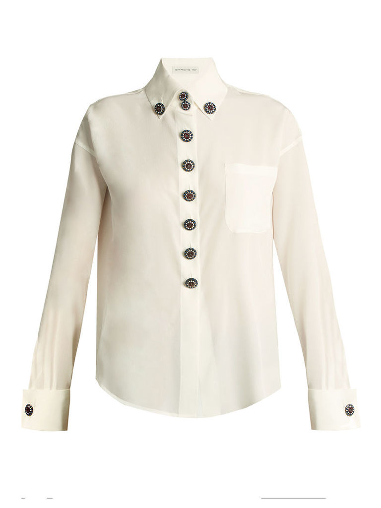 Luneville button-embellished silk shirt