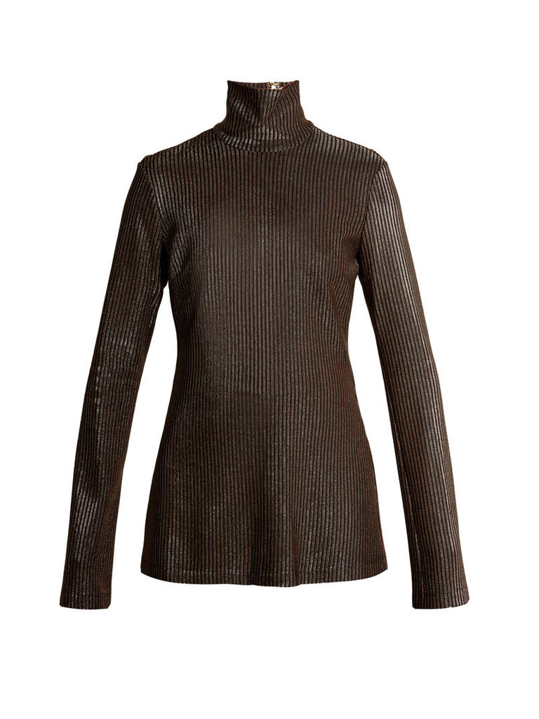 Gospel striped metallic-knit top