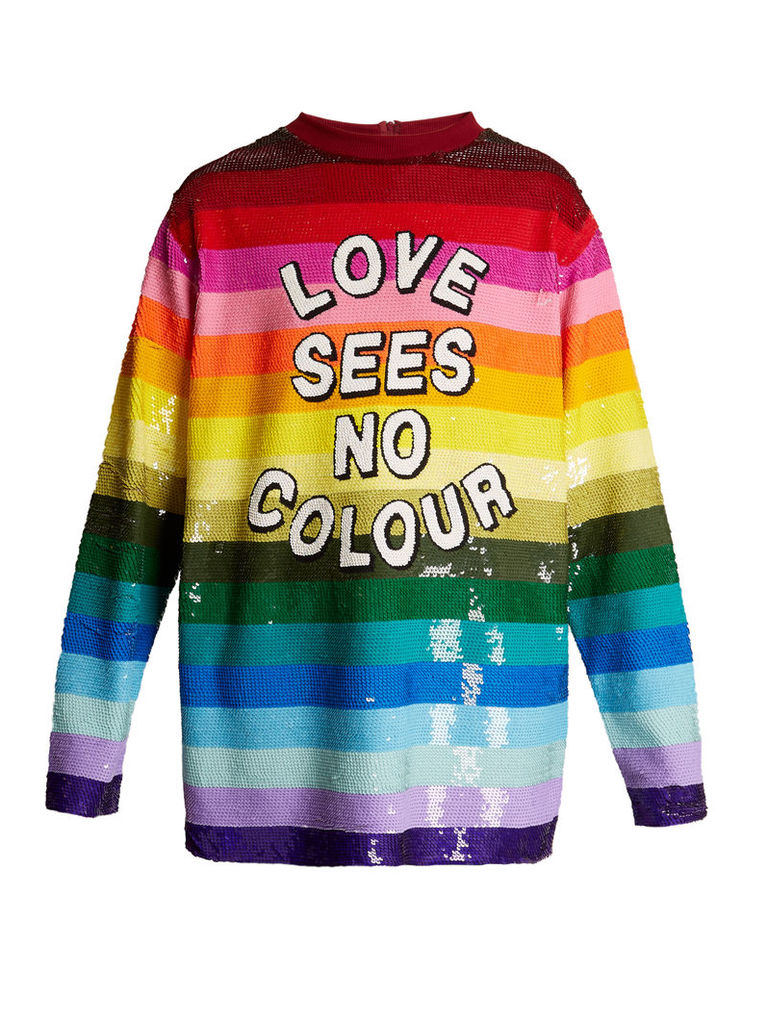 Love Sees No Colour sequin-embellished silk top