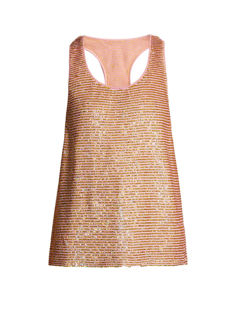 Striped sequin-embellished silk top