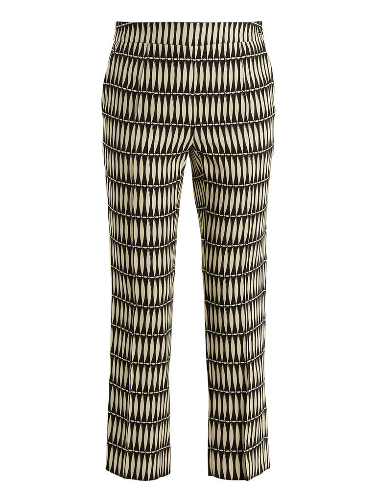 Bois Joli-print slim-leg cropped trousers