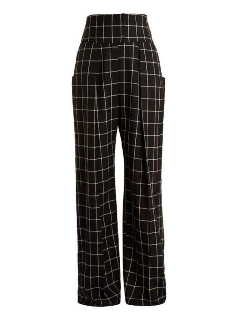 Ida windowpane-checked wide-leg wool trousers