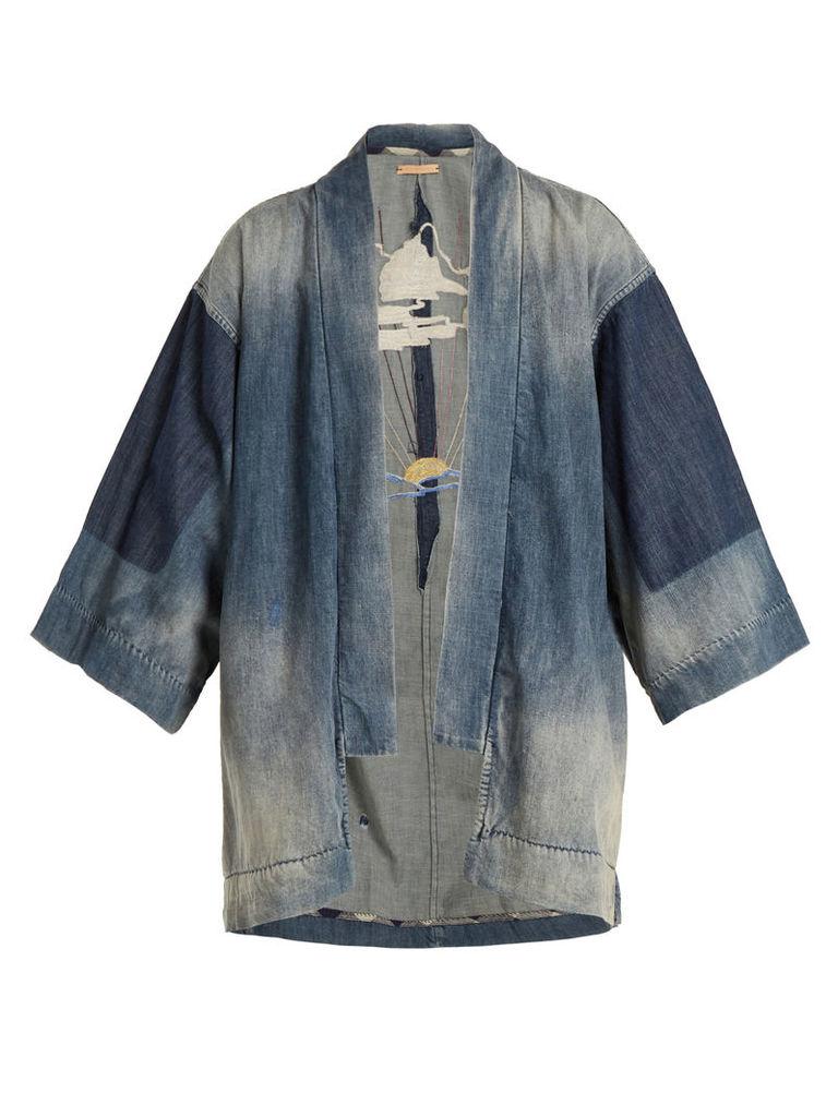 Sunrise-embroidered denim kimono jacket