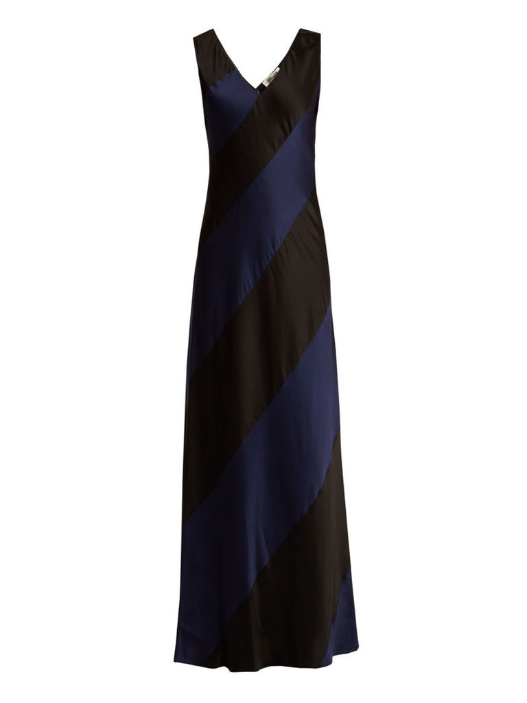 Bi-colour V-neck panelled-satin gown