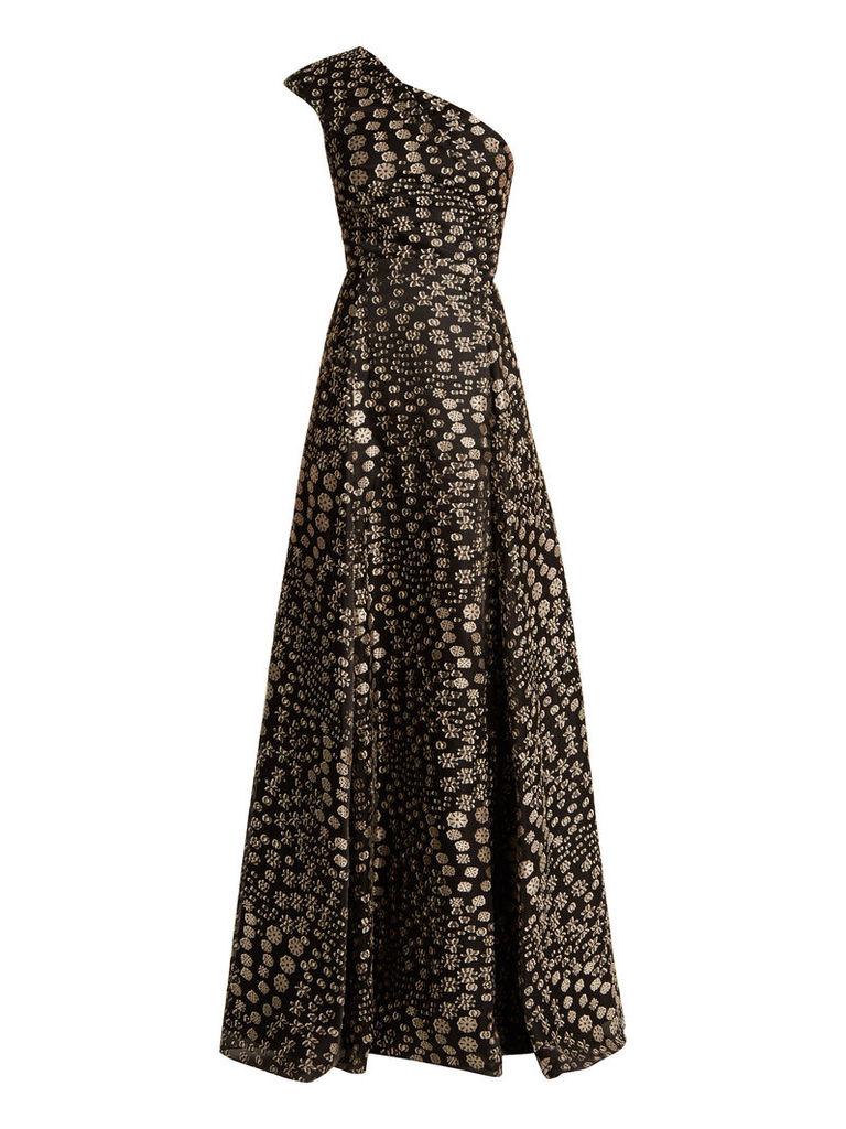 Hampstead Bloom one-shoulder fil coupé gown