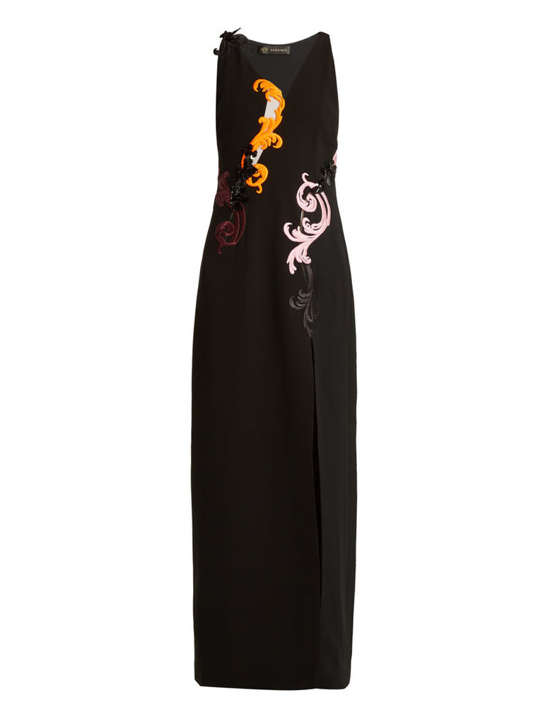 Embroidered sleeveless silk-cady gown