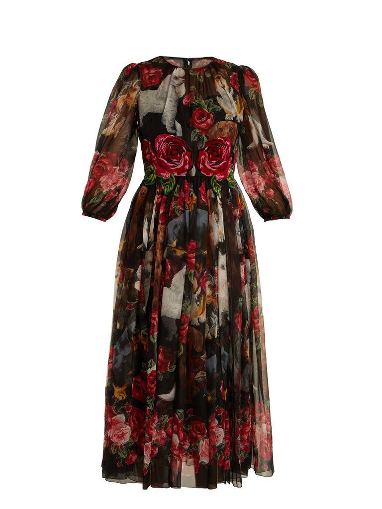 Rose and puppy-print silk-chiffon dress