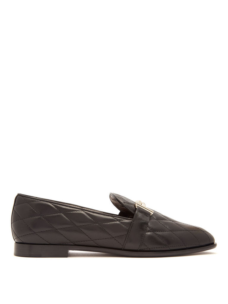 T-bar quilted-leather loafers
