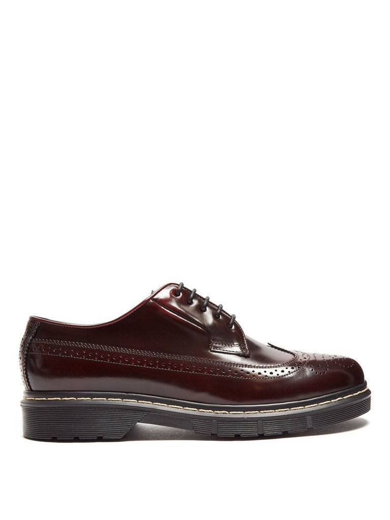 Trek-sole leather and rubber brogues