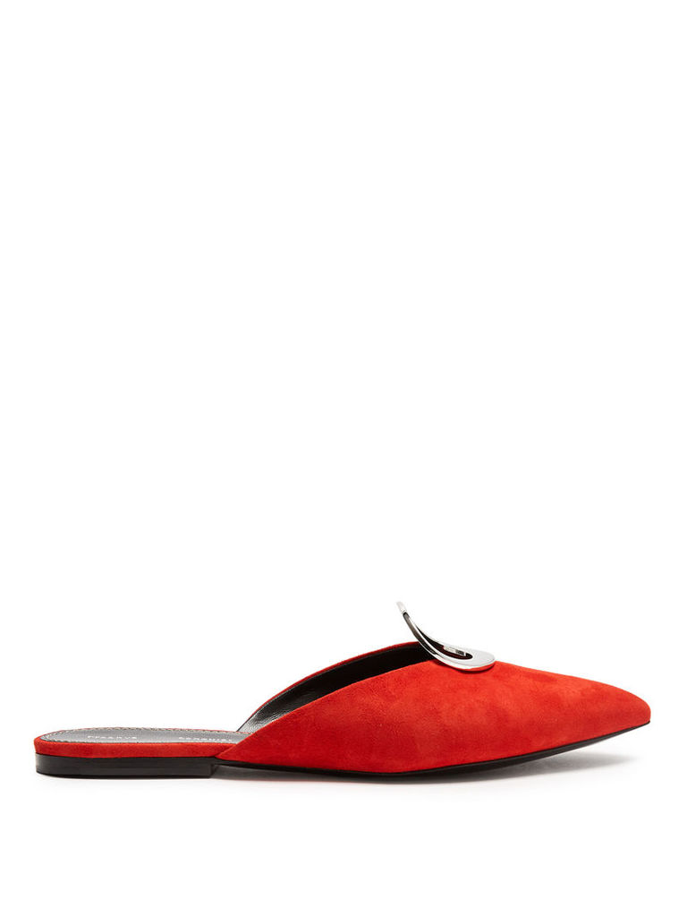 Point-toe suede slipper shoes