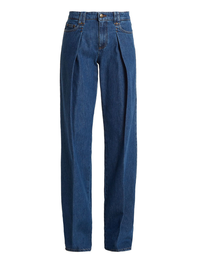 Pleated wide-leg jeans