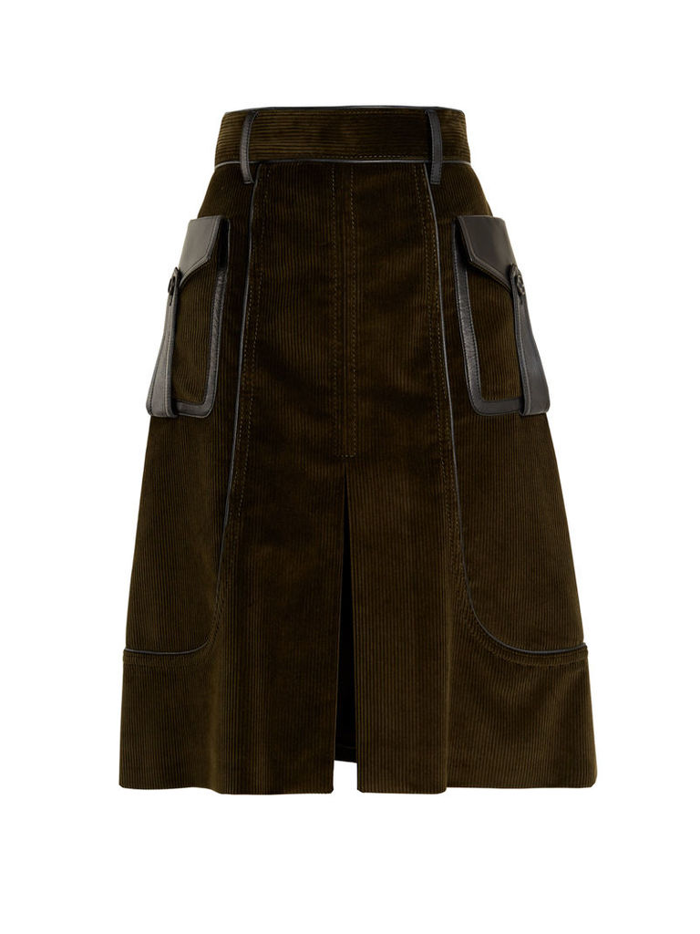 Slit-front leather-trimmed cotton-corduroy skirt
