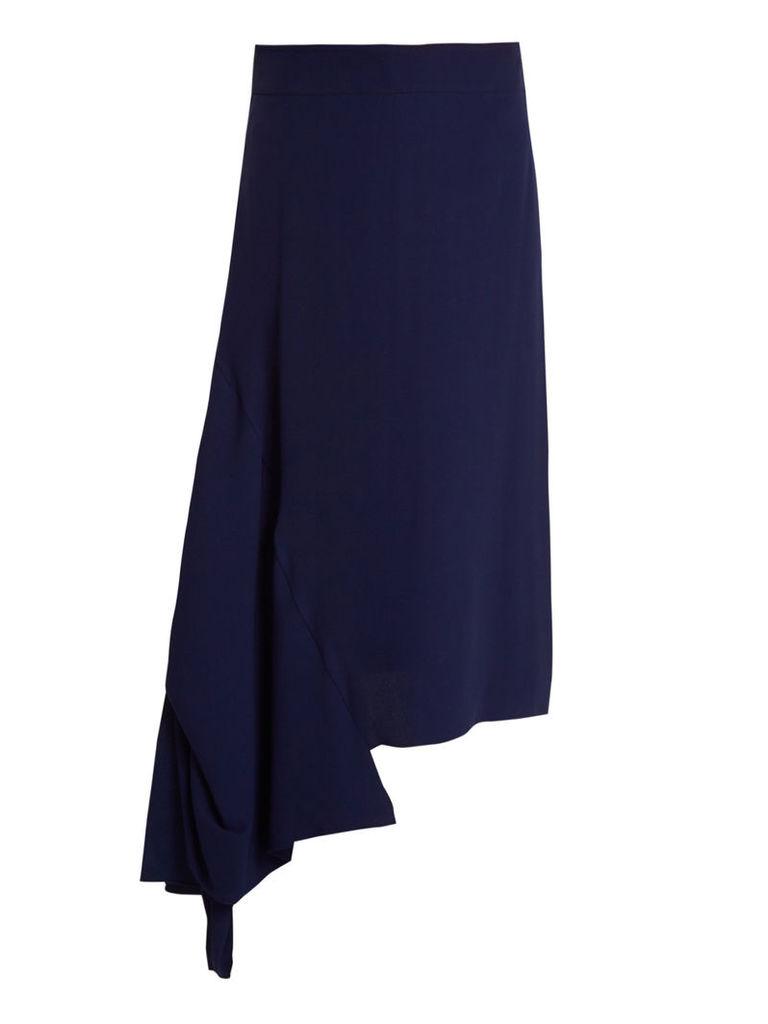 Asymmetric-hem crepe midi skirt