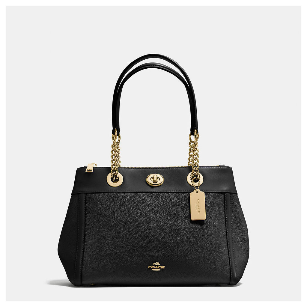 Coach Turnlock Edie Carryall In Polished Pebble Leather