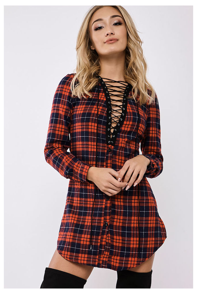 Red Dresses - Eva May Red Lace Up Checked Shirt Dress