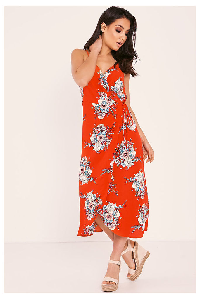 Red Dresses - Kaylah Red Floral Wrap Front Midi Dress