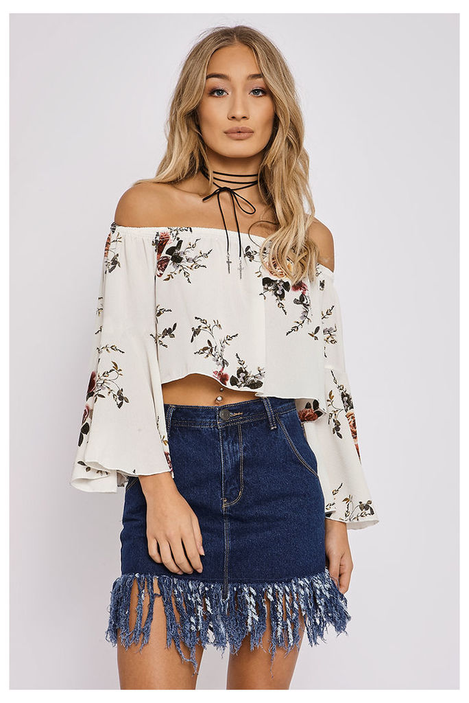 Tops - Cathi White Floral Flared Sleeve Bardot Top