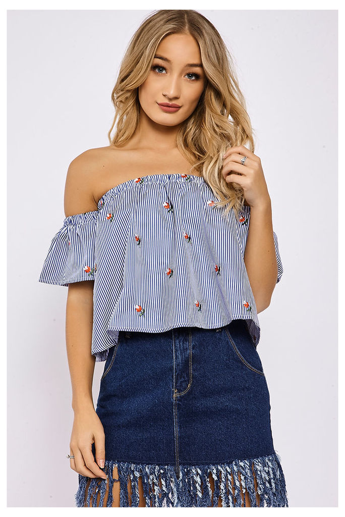 Blue Tops - Lynzie Blue Stripe Floral Embroidered Bardot Top