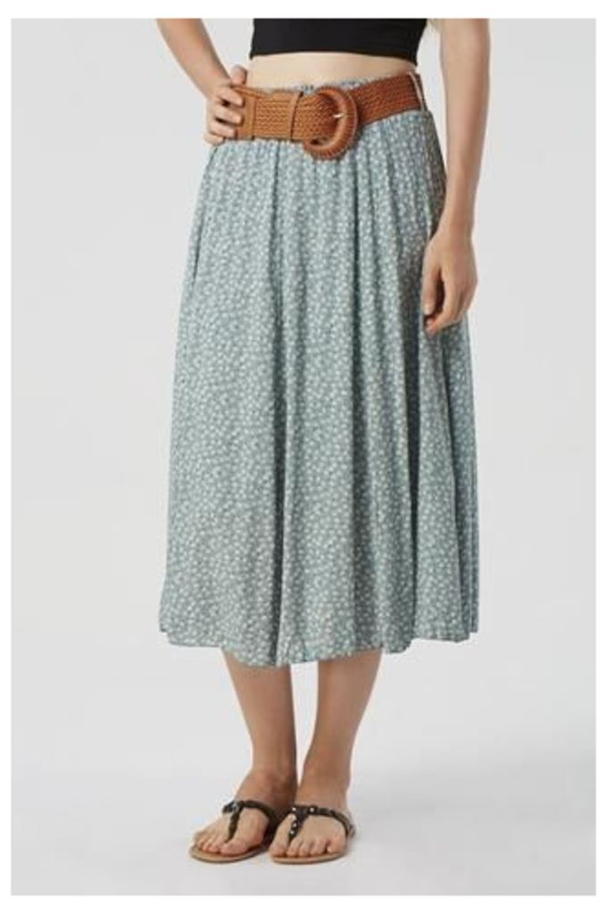 Ditsy Print Skirt with Wide Belt