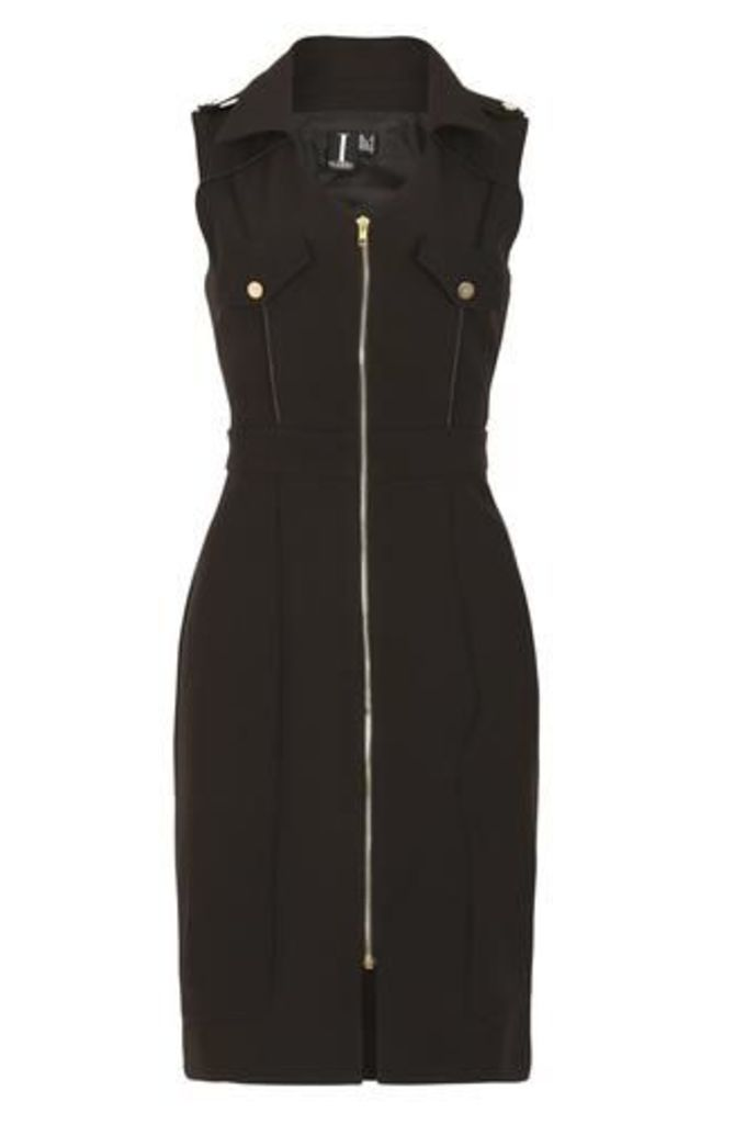 Fitted Biker Dress With Zip Detail