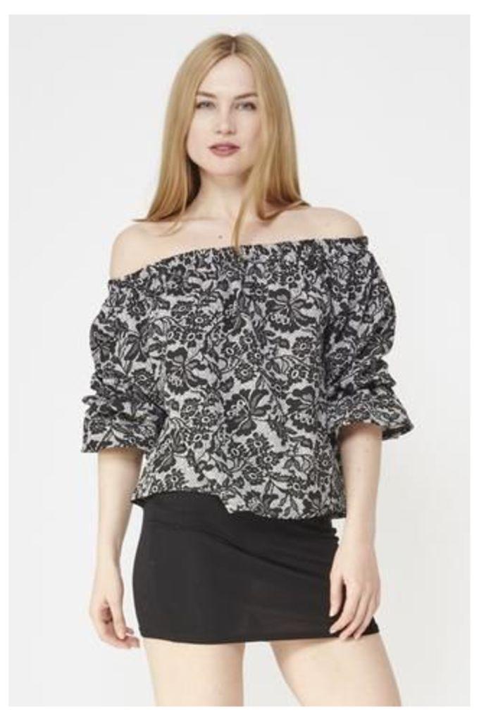 Monochrome Lace Print Gypsy Top