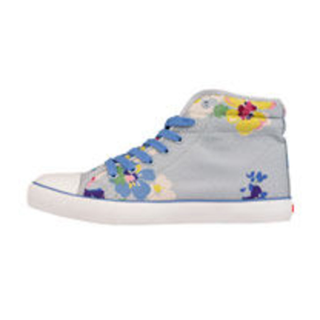 Painted Posy Quilted Hightop Plimsolls