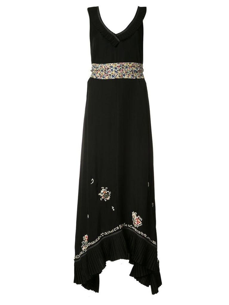 Derek Lam 10 Crosby - deep V-neck asymmetric dress - women - Silk - 0, Black