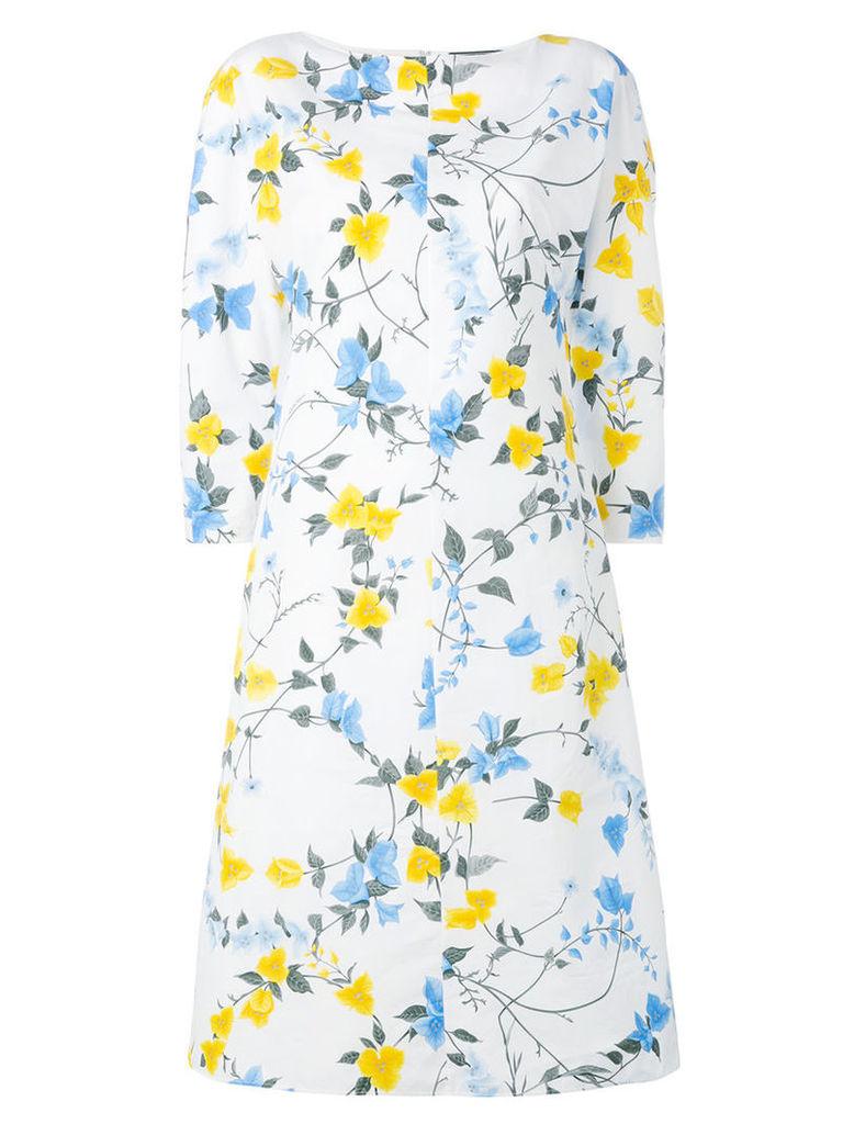 Salvatore Ferragamo - floral print shift dress - women - Cotton/Acetate/Silk - 42, White