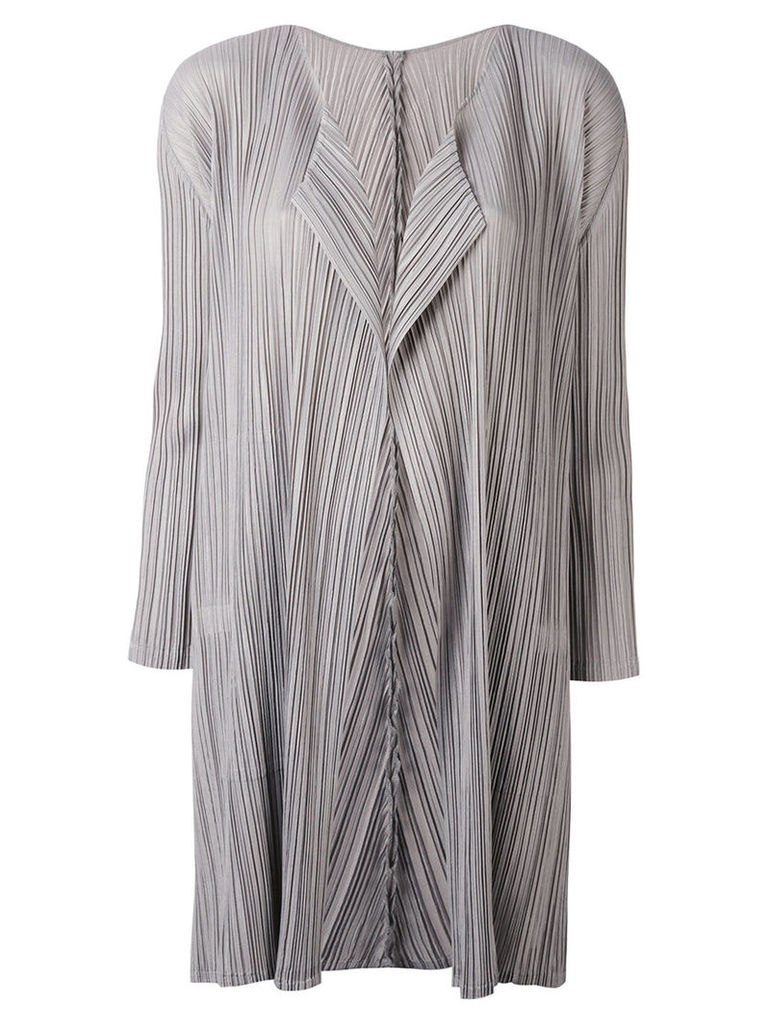 Pleats Please By Issey Miyake - pleated coat - women - Polyester - 4, Grey