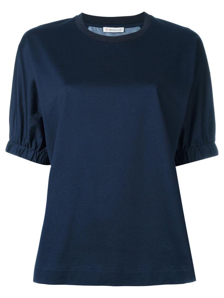 Moncler - contrast print top - women - Silk/Cotton - XS, Blue