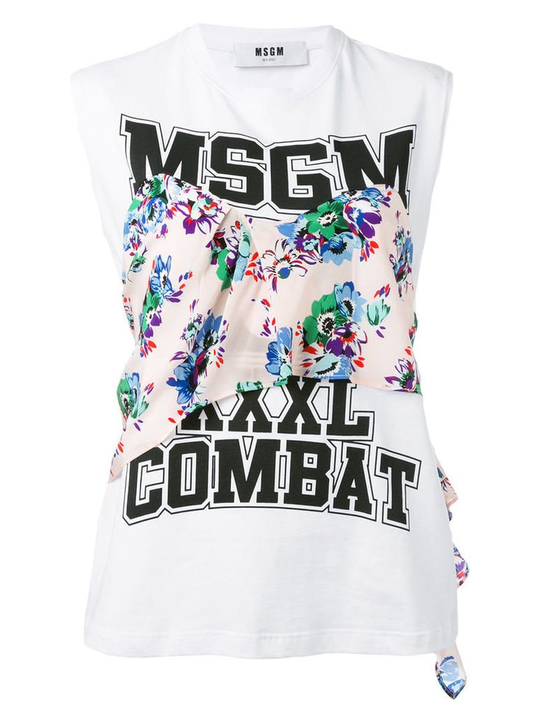 MSGM - printed tank top - women - Cotton - S, White