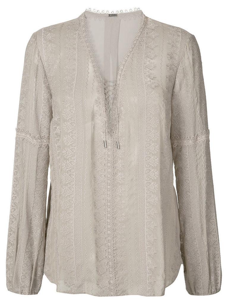 Elie Tahari - sheer long sleeve blouse - women - Silk - L, Grey