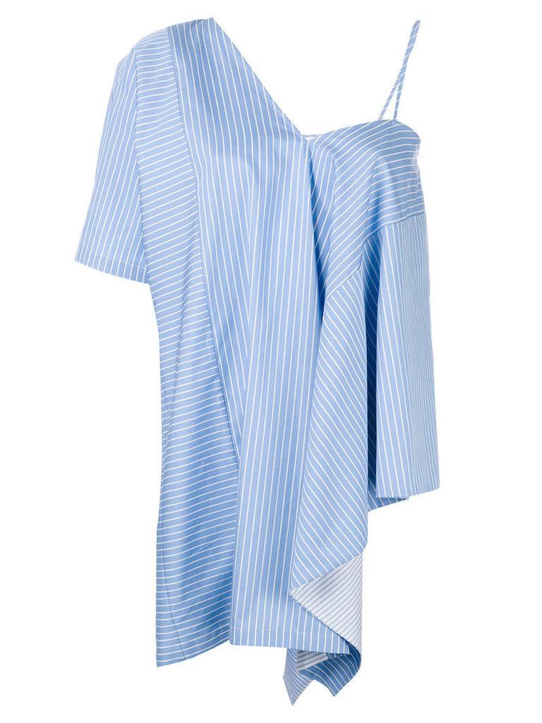 Maison Margiela - asymmetric striped top - women - Cotton - 44, Blue