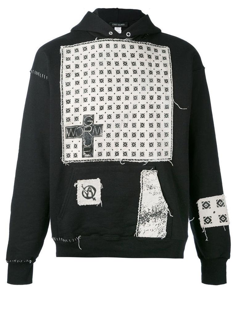 Heikki Salonen - patch hoodied - unisex - Cotton/Polyester - L, Black