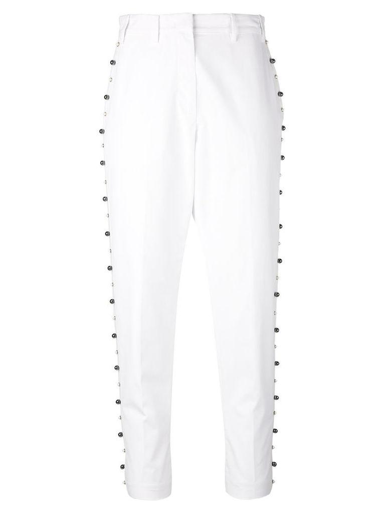 No21 - stud trim trousers - women - Cotton - 42, White