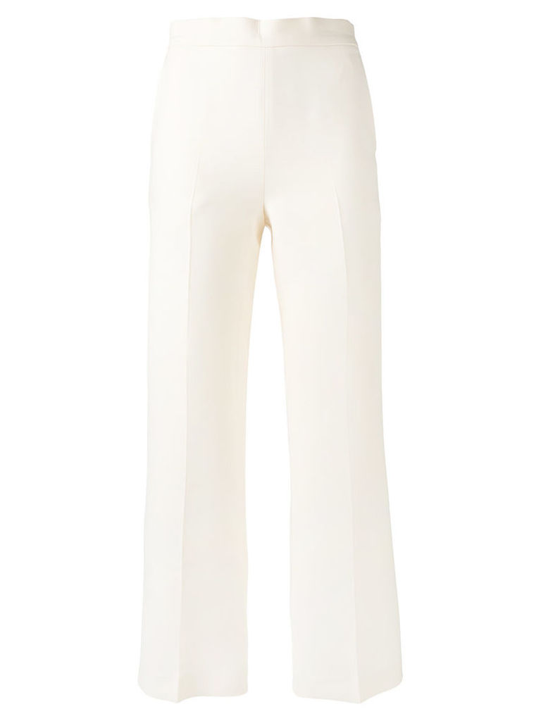 Fendi - cropped flared trousers - women - Silk/Wool - 42, White