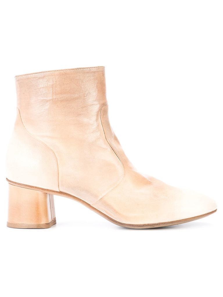 Silvano Sassetti - round toe ankle boots - women - Leather - 36.5, Nude/Neutrals