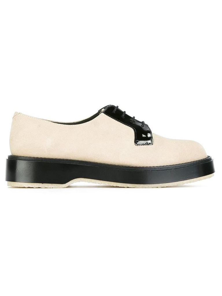 Adieu Paris - contrast lace up shoes - women - Leather/Suede/rubber - 36, Nude/Neutrals