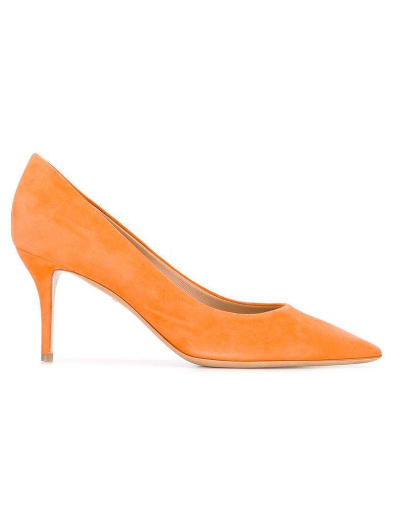 Salvatore Ferragamo - Susi pumps - women - Leather/Calf Suede - 7.5, Yellow/Orange