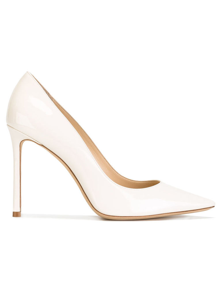Jimmy Choo - Romy 100 pumps - women - Leather/Patent Leather - 41, Nude/Neutrals