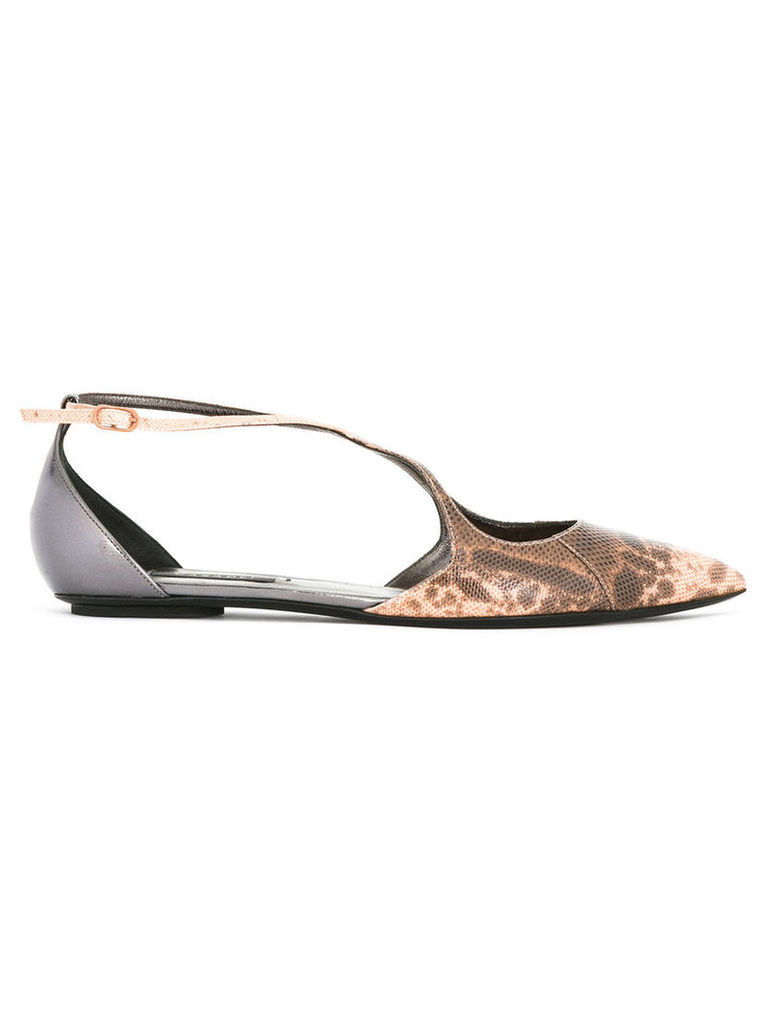 Casadei - pointed toe daytime ballerina flats - women - Calf Leather/Leather/Nappa Leather/Karung - 39.5, Nude/Neutrals