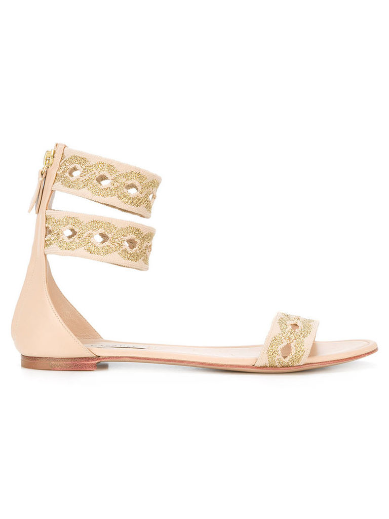 Casadei - chain print flat sandals - women - Leather/Nappa Leather/Kid Leather - 35, Nude/Neutrals