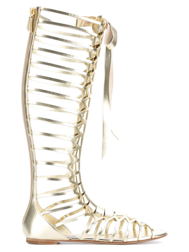 Casadei - knee-length strappy daytime sandals - women - Leather/Kid Leather - 41, Grey
