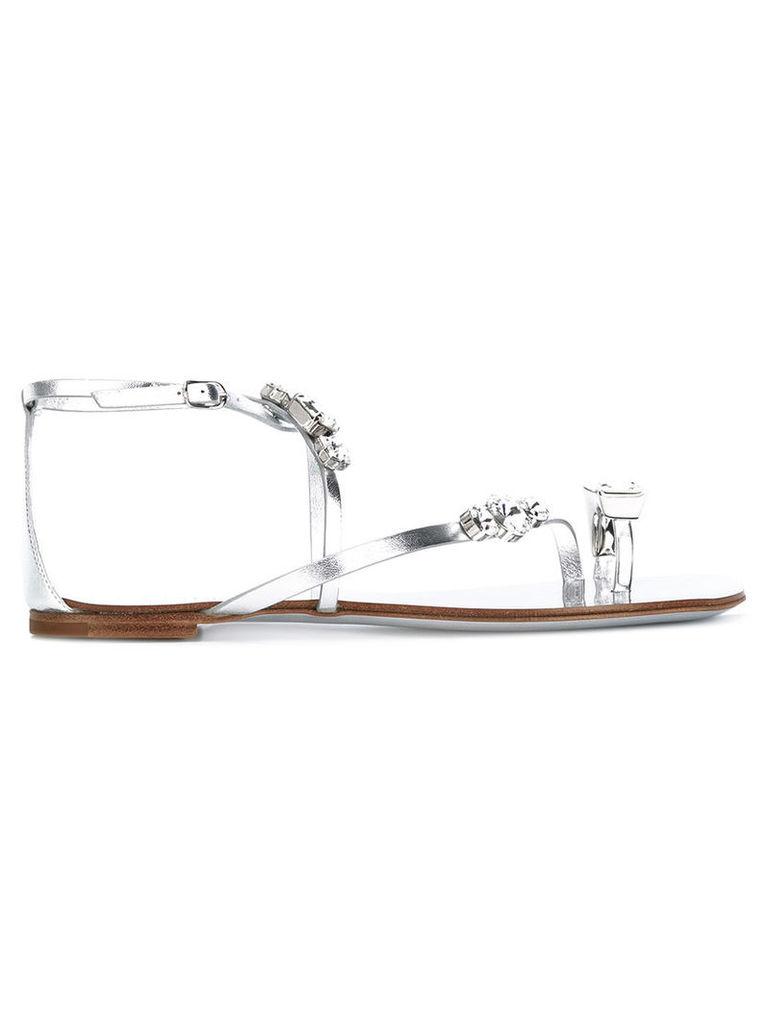 Casadei - Soraya flat sandals - women - Leather/Kid Leather/metal/glass - 37.5, Grey
